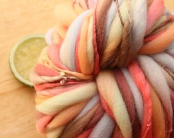 Jungle Gym - Handspun Wool Yarn Peach Brown Green Thick and Thin Skein