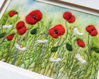 Poppies & daisies needle felted and hand embroidered collage picture - felting, fibre art, hedgerow, wall art