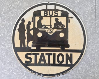 New Jersey Trolley Bus Stop Sign Porcelain 1940's Double Sided Automobilia Public Service Transportation Collectables