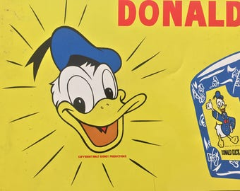 Donald Duck Bread Oven Fresh Flavor Copyright Walt Disney Productions Disneyana Advertising 1940's Tin Supermarket Sign