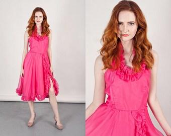 60s Pink Halter Dress Vintage Hot Pink Ruffle Swing Dress