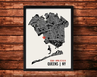 Queens Wedding Map Art | Queens Wedding Gift | Queens Art Print | Queens Poster | Queens Map | 18 x 24 Print