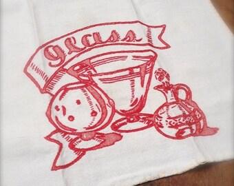 Big Sale Vintage Linen Tea Towel, Red Glasses, Hand Embroidered