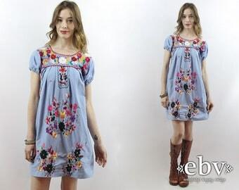 Festival Dress Mexican Dress Embroidered Dress Hippie Dress Hippy Dress Boho Dress Bohemian Dress 70s Dress 1970s Dress Puff Sleeve S M L