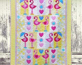 FLAMINGO DANCE | pdf Quilt Pattern | Patterns | Quilt Patterns | Flamingo Quilt | Flamingos | Applique Quilts | Happy Quilts | Kids Quilts