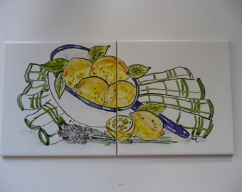 Lemon Tile Mural - handpainted tiles -6 x 12