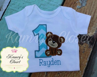 Bear Birthday, Teddy Birthday Appliqued Shirt or Onesie