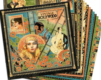 Graphic 45 Vintage Hollywood Collection 12 x 12 Scrapbook Paper Pad  New  Release In Stock Ready To Ship