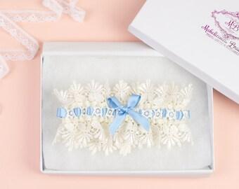 Bridal Garter - Vintage 'Blue Ice' Bridal Garter - Something Blue Garter Set