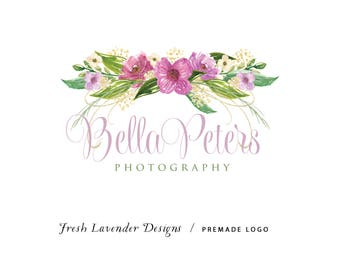 Custom Logo Design Premade Logo and Watermark for Photographers and Small Crafty Businesses Hand Drawn Watercolor Lavender Floral