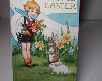 Adorable 1920's-30's Whitney Made colorful embossed gold gilded easter greeting postcard darling little boy feeding carrots to rabbits