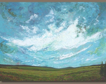 FREE SHIP large abstract painting, landscape painting, cloud painting, skyscape, oblong, turquoise blue, prairies, big sky art on canvas