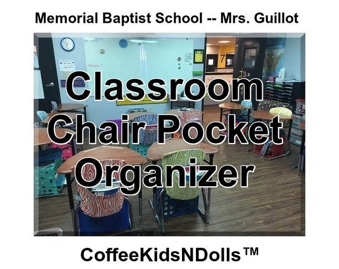 Memorial Baptist School  -- Mrs. Guillot -- Classroom Chair Cover 4 inch Expandable Pocket Chevron Duck with Embroidery Option