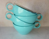 Vintage Aqua Melamine Melmac Cups Mugs Coffee Cups Set of 4