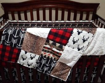Baby Boy Crib Bedding - Aztec Bear, Black Arrows, Lodge Red Black Buffalo Check, Deer Skin Minky, and Black Crib Bedding Ensemble