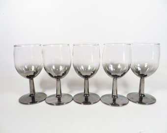 Vintage Silver Ombre Wine Glasses - Set of Five Faded Silver Wine Glasses