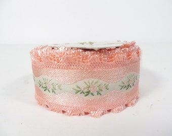 Vintage SatinFlowered Ribbon - Pink Flower Made in Japan Ribbon