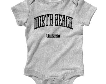 Baby One Piece - North Beach Represent - Infant Romper - NB 6m 12m 18m 24m - North Beach Baby Shower Gift, San Francisco, Maryland, Miami