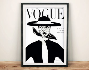 VOGUE MAGAZINE COVER: Classic 1950 Black and White Fashion Cover Art Print