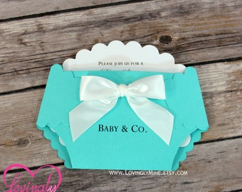 Diaper Shape Invitations - Set of 10 - Light Teal, Aqua, Robbins Egg Blue - Baby & Company - Designer Inspired
