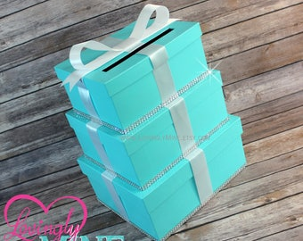 Card Holder Box in Light Teal and White - Gift Money Box for Any Event