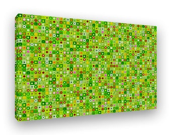 Large Canvas Wall Art, Geometric Art, Colorful Modern Mosaic, Photo Collage, Framed Canvas, Green Art, Unique Home Decor, Trendy Wall Art