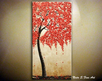 Original Blossom Tree Painting Abstract Contemporary Vertical Large Artwork Palette Knife Red Blossom Tree Painting Home Decor by Nata S.