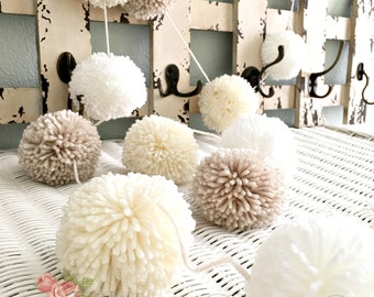 """Pom Pom Garland - Linen, Ivory, White - Yarn Pom Poms  2"""" - Baby - Bridal Shower - Garland - Birthday Wedding Ivory Pom Pom Decoration 8 Ft."""