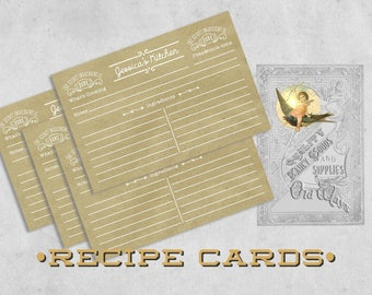 Rustic Personalized Recipe Cards - Farmhouse Style - Printed Recipe Cards 4x6 or 5x7 - Two-sided - Kitchen Bridal Shower, Gift for Cook