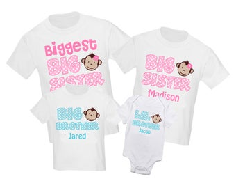 4 Pc Big Sister and Little Sister Monkey Set Sibling Shirt Set Personalized T Shirt - Any combination!