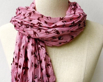 Salmon Pink Scarf, Swallow Print Long Wrinkled Scarf Shawl