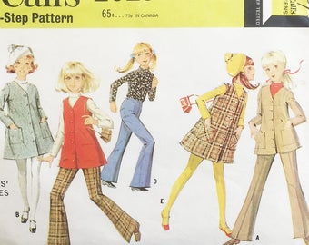 McCalls pattern 2029, out of print sewing pattern, girls size 7 separates including flared pants, jacket, top, vest and jumpe