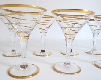 Mid Century Martini Glasses Modern Bar Glasses with Gold Stripe - Vintage Cocktail Glasses