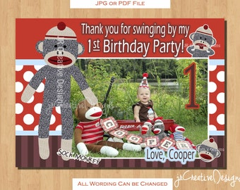 Sock Monkey thank you Boy - Sock Monkey thank you - 1st Birthday Party thank you - Sock Monkey Birthday  - Sock Monkey Party
