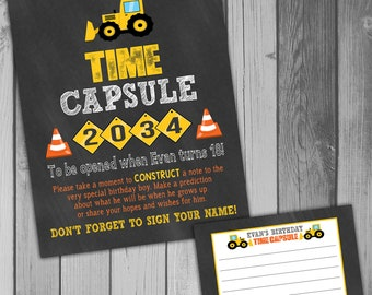 Time Capsule First Birthday Printable Time Capsule Birthday Time Capsule Construction Birthday Party Construction Party Truck Birthday