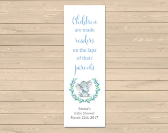 Blue Elephant Baby Shower Personalized Bookmark, Printable Elephant Bookmark, Baby Boy Bookmark Favor, Custom Baby Bookmark, Download, 305-B