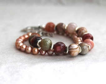 Rose Garden Agate and Pearl Bracelet