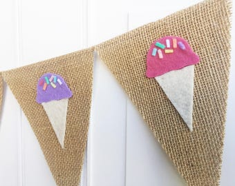 Ice Cream Banner - Ice Cream Party - Ice Cream Cone Garland - Ice Cream Social - Summer Banner - Ice Cream Decorations - Summer Decor