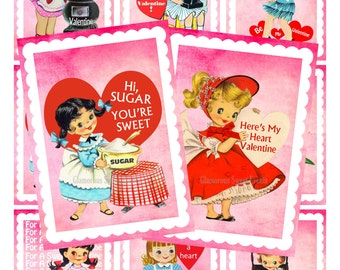 INSTANT DOWNLOAD, Vintage Valentine Cards, Collage Sheet, Printable, Glamorous Sweet Events