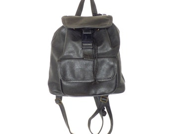 90s Faux Leather Backpack Purse Black Bucket Bag Crossbody