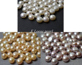AAA Button pearl,Half drilled pearl,Freshwater Pearl,Wholesale pearl,button pearl stud earrings,Loose pearls 9.8-10.3mm 2Pcs white purple