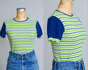 70s Striped T Shirt Blue & Green Rollergirl Tee