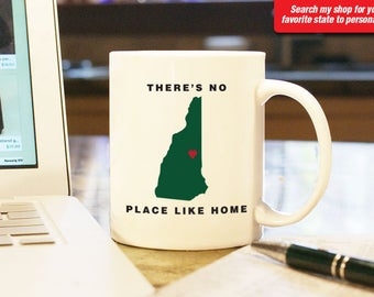 New Hampshire NH Coffee Mug Cup, No Place Like Home, Gift Present, Wedding Anniversary, Personalized Color, Custom Location Concord, Dover