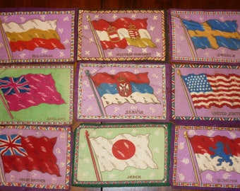 9 Antique Felt Tobacco Flags..Collectable..Good Condition..SERVIA..FREE Shipping