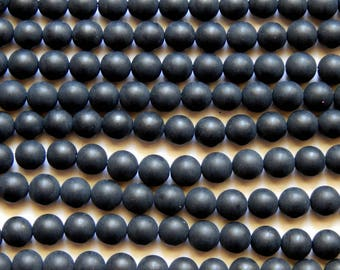 8mm Onyx Beads - Matte Black Frosted Round Gemstone Beads, Half Strand (INDOC685)