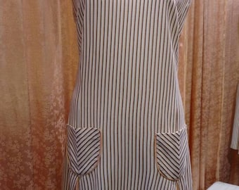 Plus Size 1960s Wendy Lane Creamsicle Striped Shift Dress with Pockets