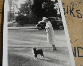 Vintage Snapshot Photo - Fancy Granny Walking Her Dog
