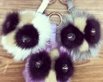 Genuine Fox Fur pom pom keychain with leather strap