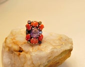 Reserved Vintage Coral Amethyst Ring