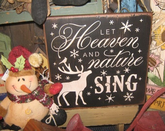 "Primitive Wood Painted Christmas  Song Sign "" Let Heaven and Nature Sing ""  Bell Rings Angel Wings  SUBWAY Sign art Country Folkart Winter"